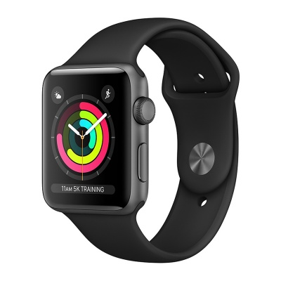 Apple Watch Sport 38mm Space Gray Aluminum Case Black Sport Band S3